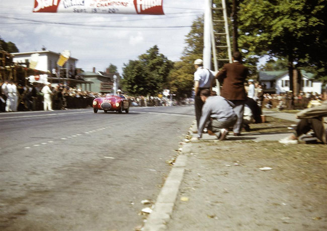 September 1952, Watkins Glen, NY USA - Bill Spear crossing the finish line in first place winning the Queen Catherine Cup race for sub 1500cc displacement